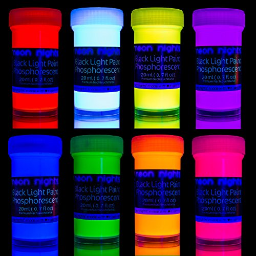 neon nights 8 x Pintura Resplandeciente En La Oscuridad Fosforescente Autoluminosa Color Neón Luminiscente