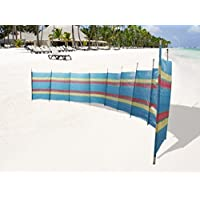 GLOW - Cortavientos de madera de verano extra alto, brillante y colorido, diseño de rayas, plegable para camping, caravana, festival y playa, ...