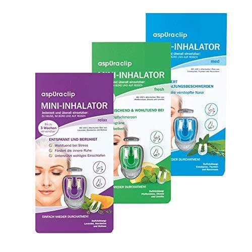 aspUraclip Mini-Inhalator mix (3er Pack) | Erster Mini-Inhalator für die Nase | Bio-Öle können für Linderung, Entspannung und Frische sorgen | Im Set enthalten sind 1x med, 1x fresh & 1x relax