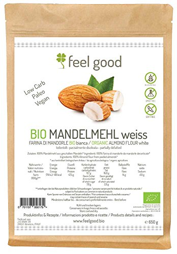 650g Farina di mandorle bianca disoleata BIO alternative paleo lowcarb senza glutine vegan Feel good - Glutine Mandorle Pane
