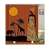 Bishilin Bad Vorhang für Badezimmer Afrikanische Frauen Anti Schimmel Duschvorhang Waschbar Polyester-Stoff 180x200