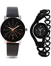 Anjani Combo Of 2 Analog Black Dial Wrist Watches For Women And Girls