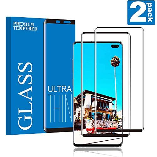 Galaxy S10 Plus Film Protection Ecran Verre Trempé, [2 Pièces] Compatible avec Lecteur d'Empreinte, 3D Full-Cover, Anti Rayures, sans Bulles d'air, Anti-Huile, Convient pour Samsung Galaxy S10 Plus