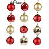Valery Madelyn 12 Stücke 6CM Luxus Rot und Gold Thema Glas Weihnachtskugeln Set Christbaumkugel mit Aufhänger Weihnachtsbaumschmuck Luxuriös Baumrock Weihnachten Dekoration