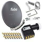 FUBA 65cm für 8 Teilnehmer (Direktanschluss) Digital SAT Anlage DAA650A + Octo LNB schwarz 0,1dB FULL HDTV 4K 3D + 16 Vergoldete F-Stecker und F- Montageschlüssel gratis dazu