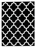 Orientalisches Marokkanisches Teppich - Dichter Und Dicker Flor Modern Designer Muster - Ideal Für Ihre Wohnzimmer Schlafzimmer Esszimmer - Schwarz Weiß - 80 x 150 cm