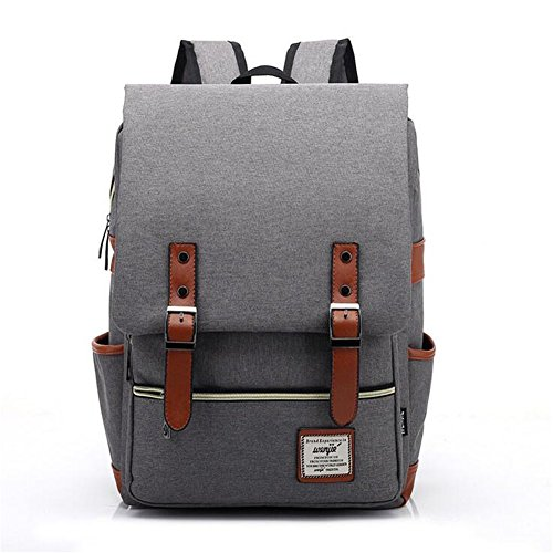 ZDTech Casual Vintage Backpack Canvas Laptop Computer Bag College School Backpack Shoulders Bag Ourdoor Weekend Travel Daypack (Gray)