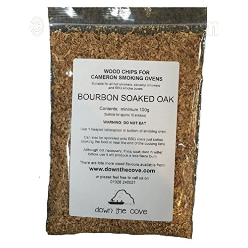100g Bourbon Soaked Oak Wood Chips / Wood Dust for Hot Smokers / Smoking Ovens / BBQ