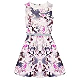 Girls Skater Dress Kids Floral Belted Summer Party Dance Sun Dresses Age 7 8 9 10 11 12 13 Years