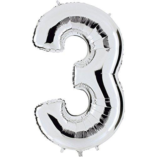 ber - XXL Riesenzahl 100cm - für Geburtstag Jubiläum & Co - Party Geschenk Dekoration Folienballon Luftballon Happy Birthday (3 Ballon)