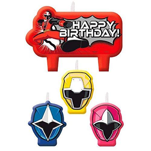 ges Geburtstagskerzen Set - Tortendekoration Happy Birthday Kerzen (Power-ranger-party)