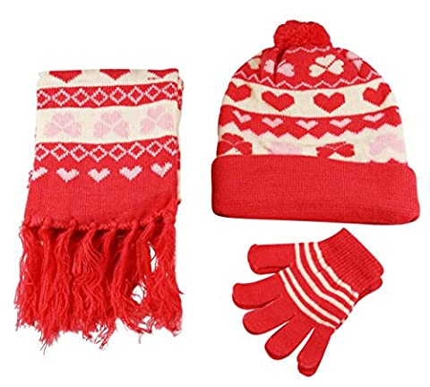 Girls Hat Scarf and Gloves 3 Piece Set Knit Hearts