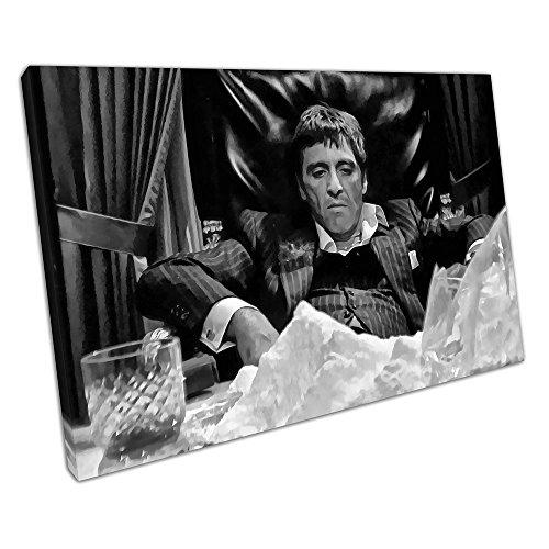 Schwarz & Weiß Kunstdruck auf Leinwand American Gangster Tony Montana Scarface, schwarz / weiß, 91 x 61 x Depth 2cm