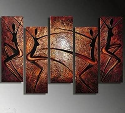 YEESAM ART® Large African Dancers ++ 100% Handmade Landscape Oil Painting 5 pieces Multi Panel Split Canvas Abstract and Modern Contemporary Art ++ Hand Painted Canvas Wall Art Artwork Paintings for Home Living Room Office Christmas Decor Decorations or G