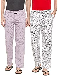 Nick & Jess Men's Lounge Wear : White & Pink Printed Pajama Bottoms Men's Lounge Wear : White Printed Pajama Bottoms...