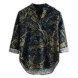 DNOQN Oversize T Shirt Herren Cashmere Pullover Slim Fit Bluse Mens Drucken Hawaiian lose Baumwolle Leinen Langarm Beiläufig Buttons T-Shirt XL