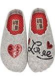 Manitu Home Damen Hausschuhe Pantoffel Wollfilz Love Herz Grau (41 EU)
