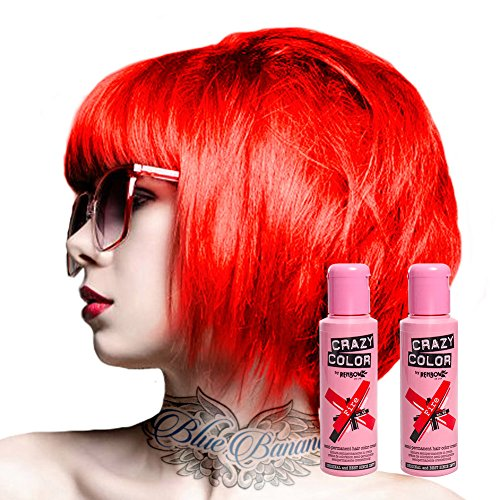 X2 Tinte Capilar Semi-Permanente Crazy Color 100ml (Fire Red - Rojo)