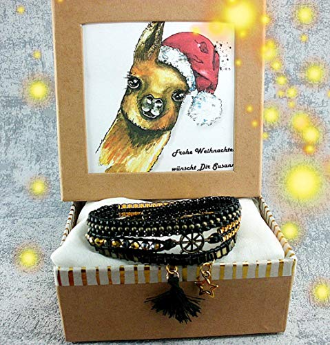 außergewöhnliches Wickelarmband/Damen in schwarz-bronze-gold+ Anhänger Direkt in Geschenkbox. Einzelstück. Ein Armband für Dein Lächeln. - Lächeln Armband
