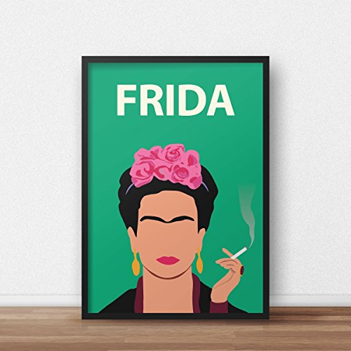 Frida Kahlo Poster Print // Feminist Artwork - Minimalist - Inspirational - Colourful - Gift for Her - Retro Art - Minimalist