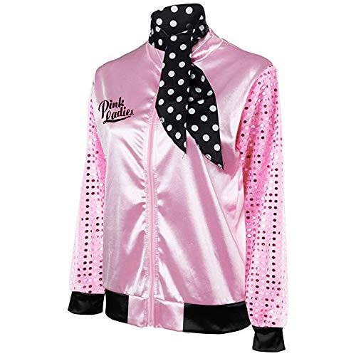 Für Jacke Kostüm Damen Rosa - HUIHUI Damen Bekleidung Frauen Pink Ladies Satin Jacke Kostüm mit Tupfen Schal (S, Rosa)