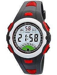 Montre digital Homme - bracelet Plastique Noir et rouge - Cadran Rond - Marque Montre Concept - MR8538 digitale watch
