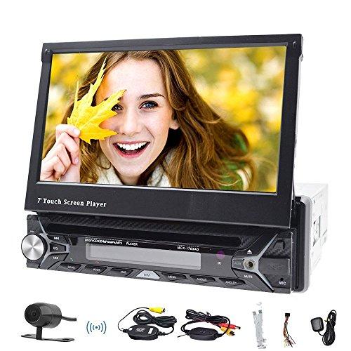 foiioe 17,8cm abnehmbarer Touchscreen Auto GPS Navigation Head Unit Single 1DIN Autoradio mit DVD CD Audio Player unterstützt Bluetooth, USB SD, FM AM Empfänger, Lenkradfernbedienung, Subwoofer, AUX, cam-in mit gratis 8gb karte und hinten Kamera