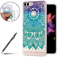 Schutzhülle Huawei Honor 9 Lite Handyhülle Silikon Hülle Handy Tasche Ultra Dünne Clear Case Durchsichtig Transparent Crystal Kirstall TPU Bumper Case Tasche,Blau Mandala Blumen