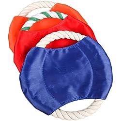 Cdet 3X Perro frisbee entrenamiento especial juguetes para mascotas algodón mascota juguete de la cuerda color al azar