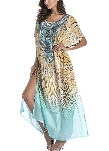 PassMe Copricostume Mare Donna Vestito Lungo a Spacco Estate Chiffon Fiore  Stampato Costume da Bagno Bikini