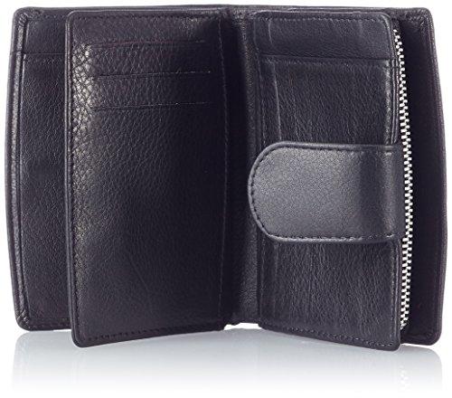 """Wallet """"Platino"""" delle donne di lusso compatti con un sacco di scomparti per le carte di credito con i migliori, di pelle trattata Nero"""