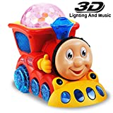 Musical Train Toy For Kids Bump And Go with 4D Light - Red