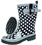 BOCKSTIEGEL® DORIN Damen - Modische Gummistiefel | 36-42 Rubber Boots | Regenstiefel | Polka Dots | Gepunktet, Farbe:Dunkelblau;Größe:36 / UK 3.5