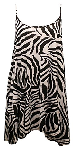 Fast Fashion - Robe Sangle Rose Vérification Du Crâne Point Polka Print Swing - Femmes Zebra Imprimer