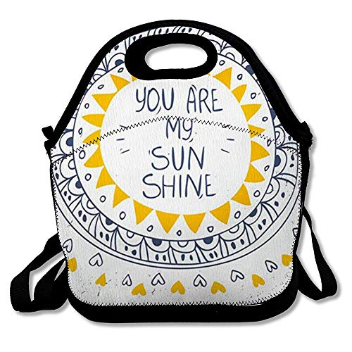 Reusable Lunch Bag for Men Women Happiness Quote Text You Abstract Sunshine Cute Circle Pattern Sun Shape Design Inspiration Insulated Lunch Tote for Travel Office School