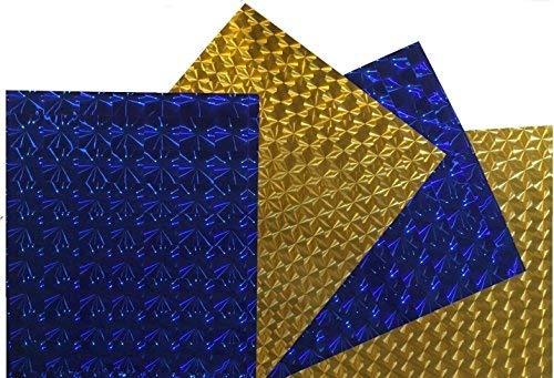 Permanent selbstklebend-Vinyl-Blatt für die Cricut Maker Ausdruck erkunden Silhouette Cameo, sich blau und gold metallic, irisierend Aufkleber Schilder (4Stück) 30,5x 25,4cm