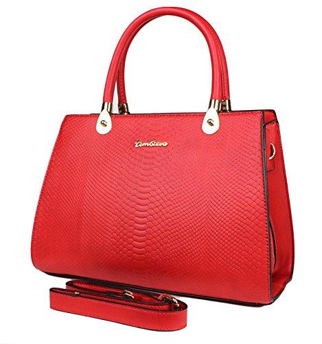 Tom & Eva Damen Tasche - Vintage Kroko Henkeltasche aus Kunstleder, Rot Handtasche - Rot Krokodil Handtasche