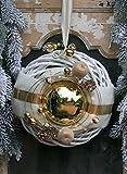 Winterkranz Doppelkranz Wandkranz Nr.32 Türkranz weiß 30 cm wahlweise mit LED-LICHTERKETTE mit goldener Kugel creme gold modern Türdeko Winter Weihnachten Türdeko Türdekoration (mit Lichterkette)