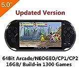 Schermo LCD da 5 pollici 16GB 64Bit Retro console di gioco a mano in mano 1300 + giochi senza ripetizione con MP4 MP5 Supporto Funzione Arcade NEOGEO/CPS/FC/NES/SFC/SNES/GB/GBC/GBA/SMC/SMD/SEGA (Nero)
