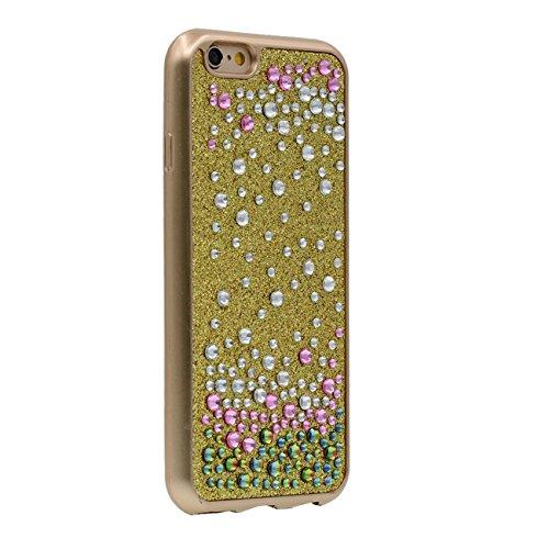 iPhone 6S Plus Coque Protection Case, Brillant Bling Cristal Couverture arrière Souple Plastique Très Mince Poids Léger Housse Protection pour Apple iPhone 6 Plus / 6S Plus 5.5 inch - Or or