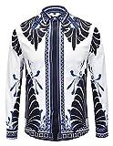 Pizoff Herren Barock Langarm Hemden - mit Palace Luxus Druck