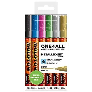 Molotow Acryl Marker One4All 127HS (Metallic-Set mit 6 kräftigen Acrylfarben, 2mm Spitze, hochdeckend und permanent, UV-Beständig, für fast alle Untergründe)