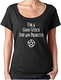 Cheeky Witch® for A Good Witch Add Prosecco Halloween Scoop Neck Top Pagan Wiccan T-Shirt