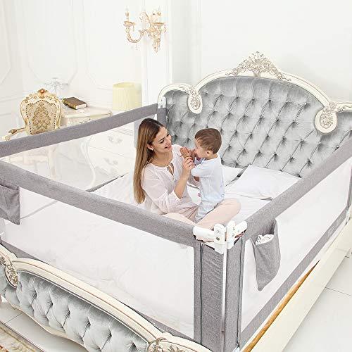 ZEHNHASE Barandilla de La Cama Guardia de Seguridad para Niños, Portátil Barrera de cama para bebé Protección contra caídas, Barandilla cama(180cm,Gris,1pc)
