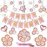 Set de decoración de fiesta de cumpleaños con oro rosa de 69 PC