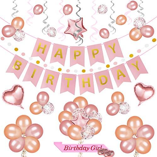 69 Stücke Roségold Geburtstag Deko Set, Alles Gute zum Geburtstag Banner, Party Luftballons, Glitzernde Polka Dot Girlande, Glänzender Wirbelt, Birthday Girl Schärpe