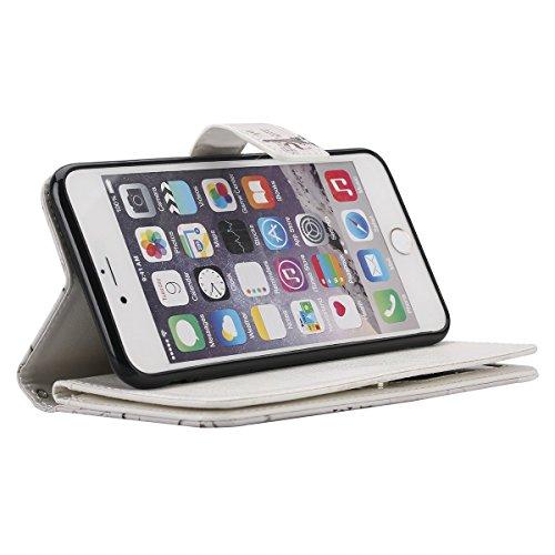 """Apple iPhone 6 Plus/6S Plus 5.5"""" Wallet Coque - Felfy Luxe PU Cuir Ultra-mince Étui Flip Housse Étui Cover Case Wallet Portefeuille Fonction Support avec 9 Credit Card Slots Motif Rétro élégant Housse Adorable Cerf"""