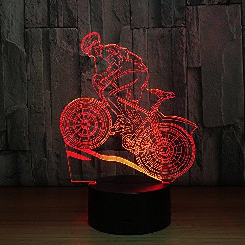Nachtlicht-Farben des Mountainbike-Mitfahrer-3D, die LED 3D Illusionssportfans ändern
