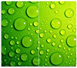Wallario Herdabdeckplatte/Spritzschutz aus Glas, 2-teilig, 60x52cm, für Ceran- und Induktionsherde, Wassertropfen auf Grün