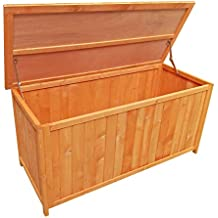 Baúl madera pino jardín almacenaje exterior caja terraza balcón muebles de jardín mobiliario orden